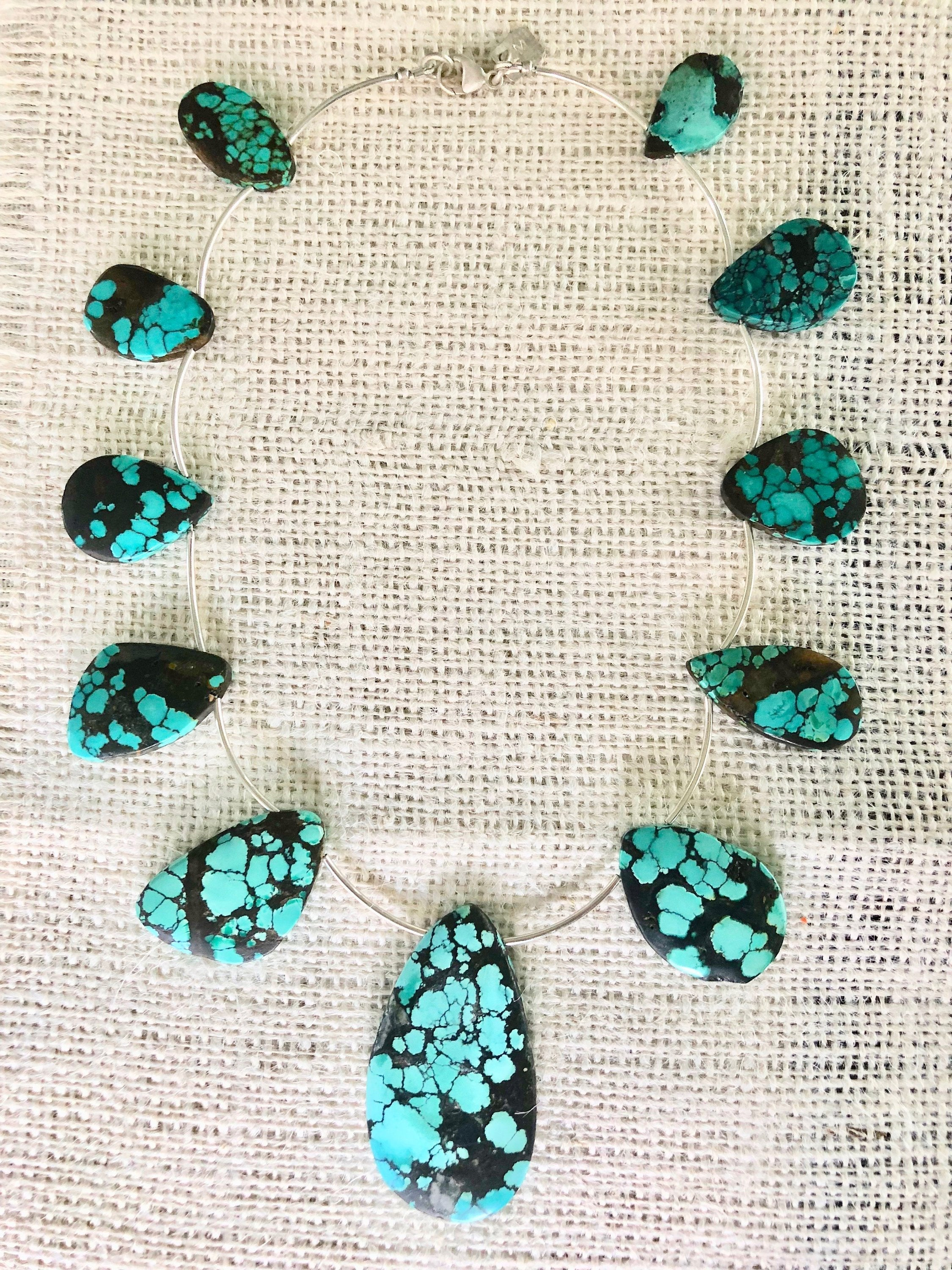 Stunning Turquoise Necklace, Chunky Turquoise Necklace, Chunky Turquoise Jewelry, Unique Turquoise Necklace