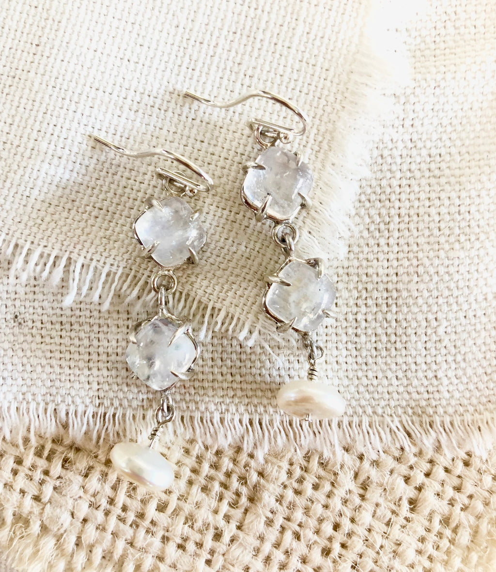 Moonstone & Pearl Earrings, Moonstone Earrings, Moonstone Jewelry, Moonstone Dangles