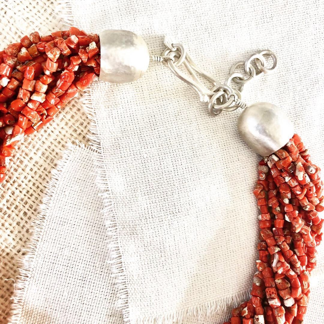 Mediterranean Coral Necklace, Multi-Strand Coral Necklace, Coral Necklace, Coral Beads,