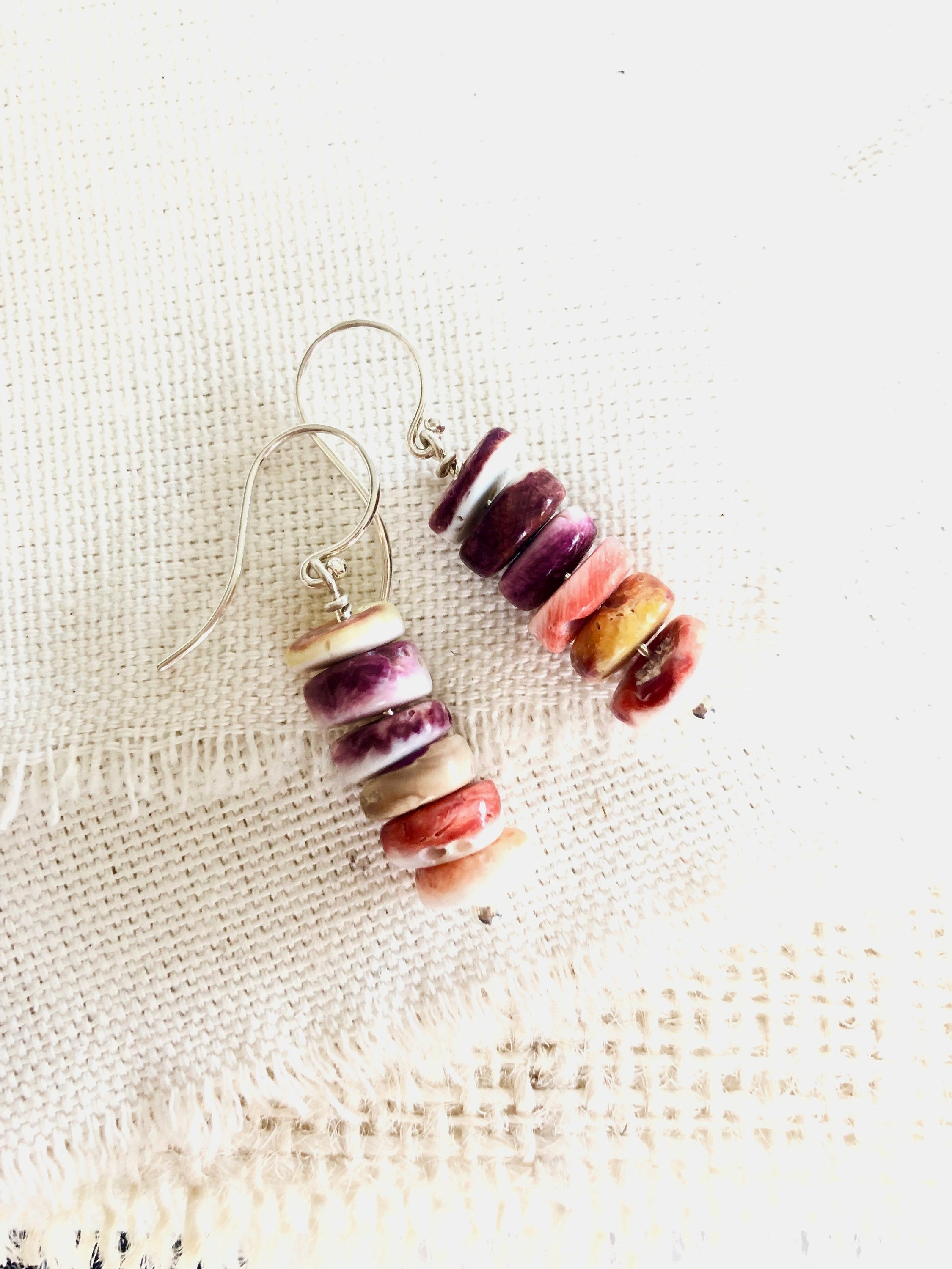 Spiny Oyster Shell Earrings, Spiny Oyster Shell, Spiny Oyster Shell Jewelry, Spiny Oyster Shell Beaded Earrings