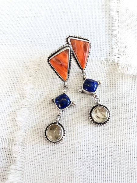 Spiny Oyster Shell, Lapis, & Rutilated Quartz Earrings