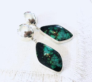 Hubei Green Turquoise Earrings