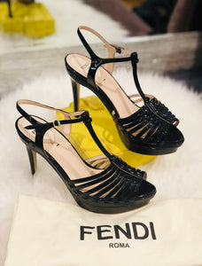 $990 NEW FENDI Black Leather Platform Strappy Peep Toe T Strap Sandals Size 36