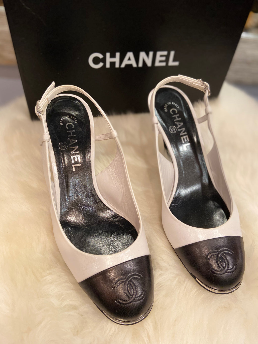 Chanel sWhite/Black Closed Toe Strap Heels size 39