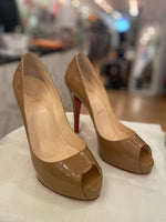 Christian Louboutin Tan Patent Leather Open Toe Pumps