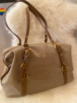 Prada Canvas/Leather Shoulder Bag