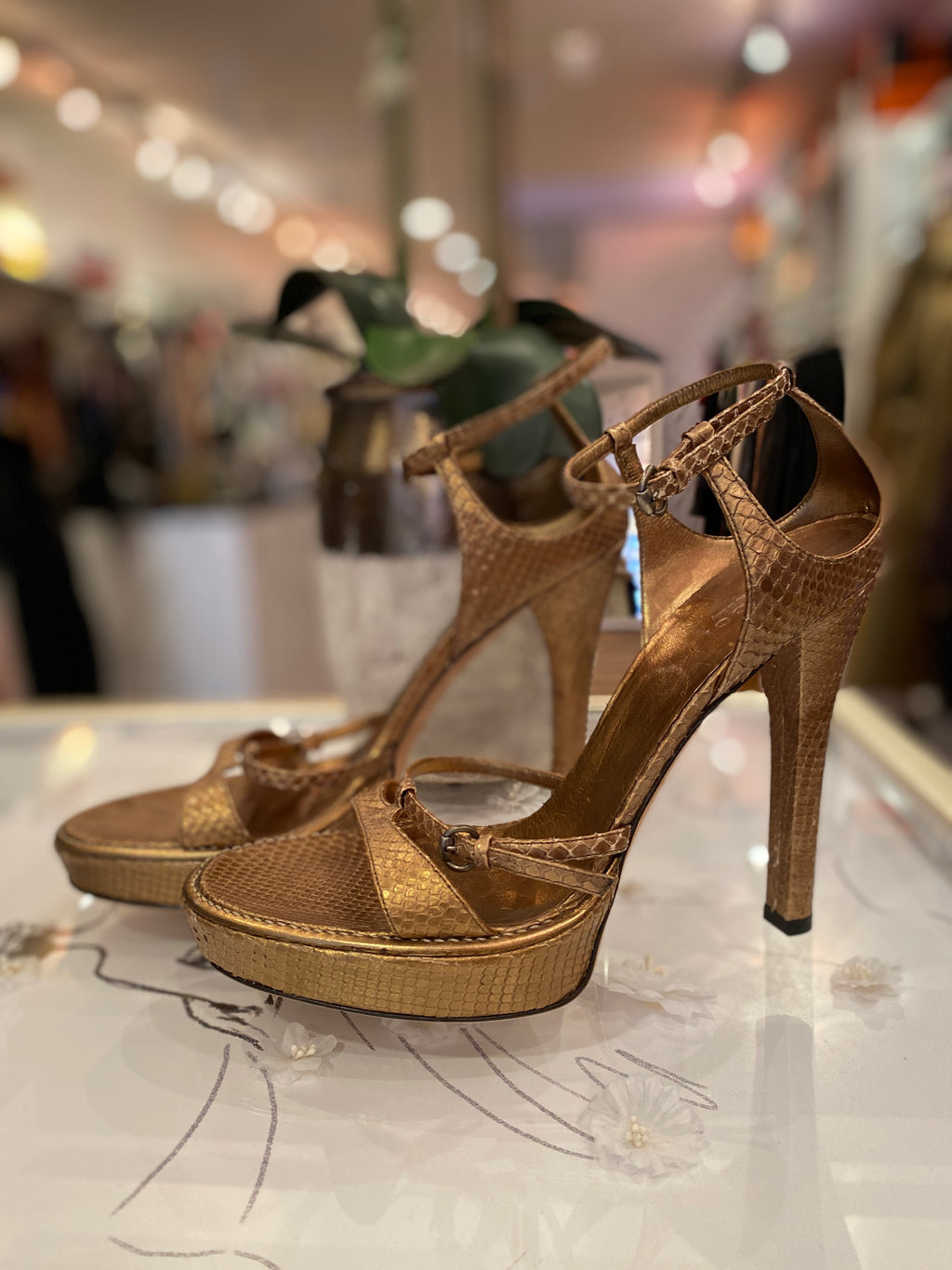 Gucci Bronze Snakeskin Sandals