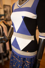 Versace Blue Geometric Top