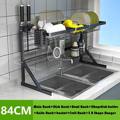 64/84cm Stainless steel drying bowl sink rack
