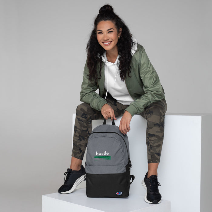 Green Hustle Embroidered Champion Backpack
