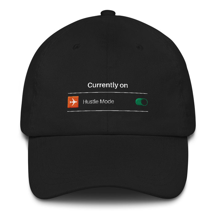 Hustle Mode ON Snapback Hat - Black