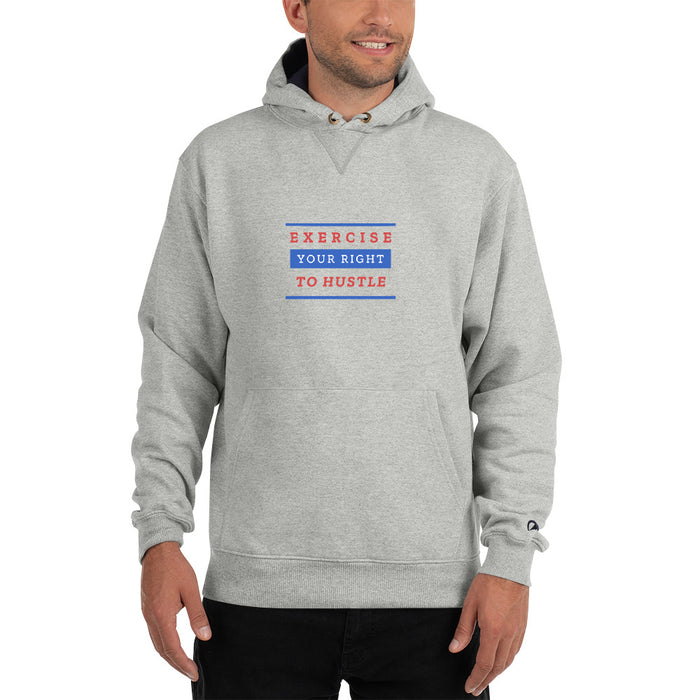 Exercise Your Right To Hustle Champion Hoodie - Grey