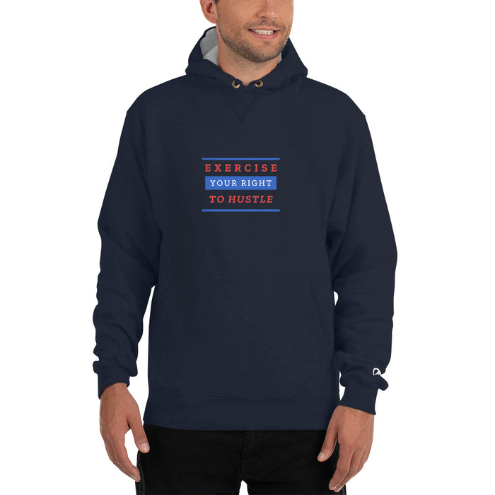 Exercise Your Right To Hustle Champion Hoodie - Navy
