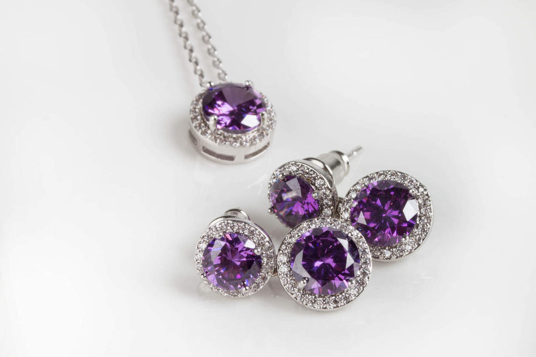 Purple Wedding Jewelry Earring Pendant Bridesmaid Set