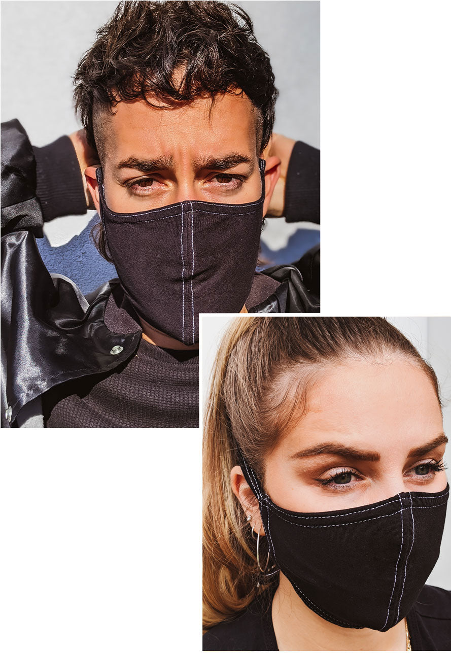 male and female models in black face masks