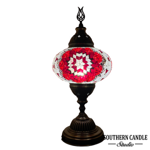 Bohemian Red Handcrafted Large Mosaic Table Lamp