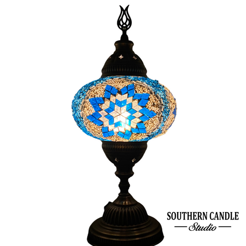 Blue Stars Handcrafted Large Mosaic Table Lamp