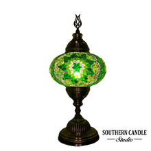 Load image into Gallery viewer, Large Green Spectrum Star Handcrafted Mosaic Table Lamp