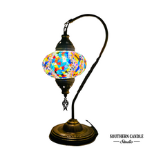 Load image into Gallery viewer, Judas Boho Handcrafted Large Swan Neck Mosaic Table Lamp