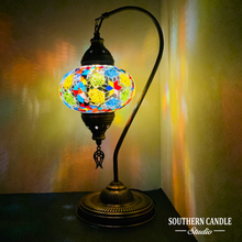 Load image into Gallery viewer, Kacia Boho Handcrafted Large Swan Neck Mosaic Table Lamp