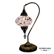 Load image into Gallery viewer, Lux Boho Handcrafted Large Swan Neck Mosaic Table Lamp