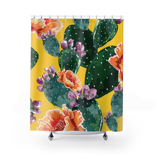 Cactus Flowers Shower Curtains - Southern Candle Studio