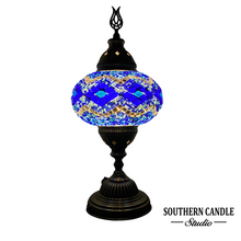 Load image into Gallery viewer, Ocean Waves Handcrafted Mosaic Large Table Lamp