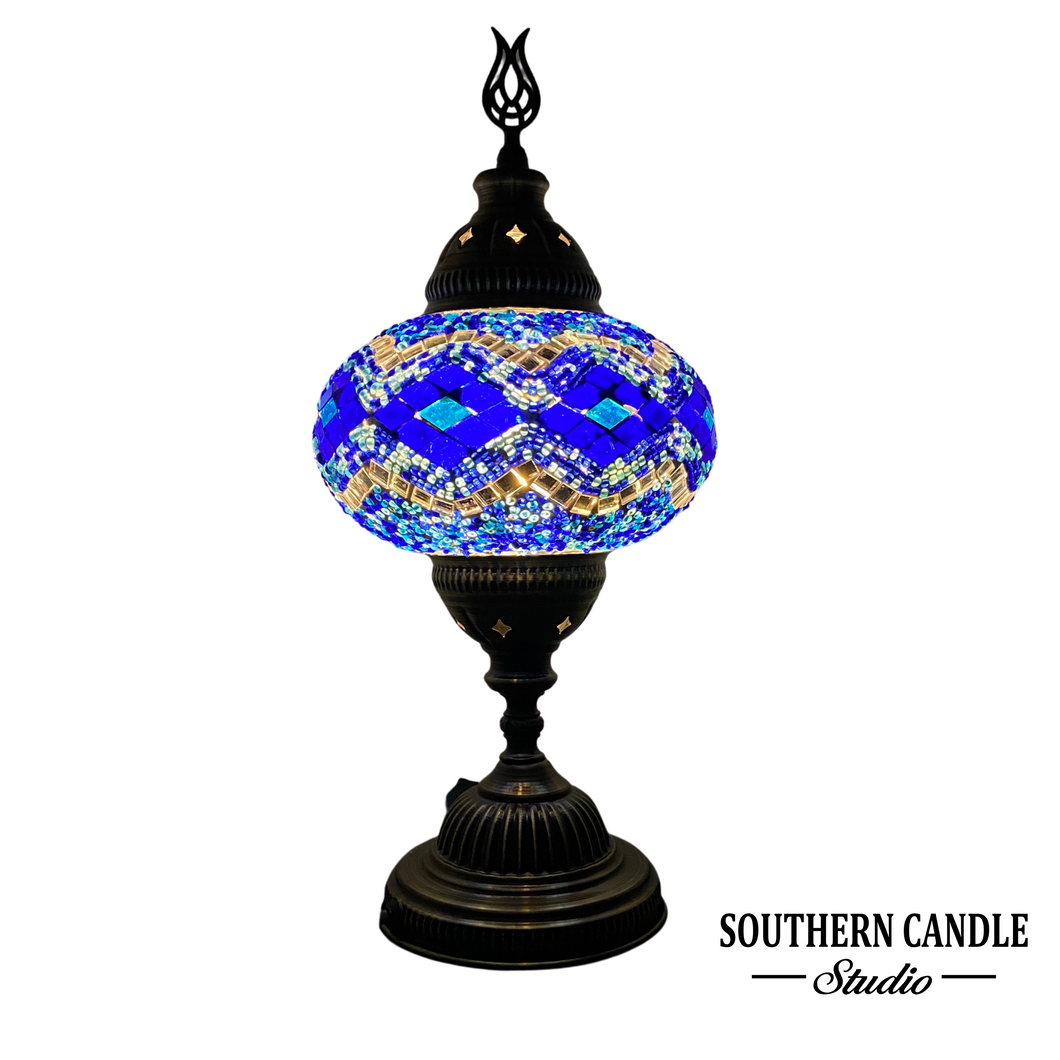 Ocean Waves Handcrafted Mosaic Large Table Lamp