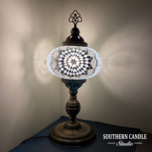 White Lace Boho Handcrafted Premium Mosaic Table Lamps