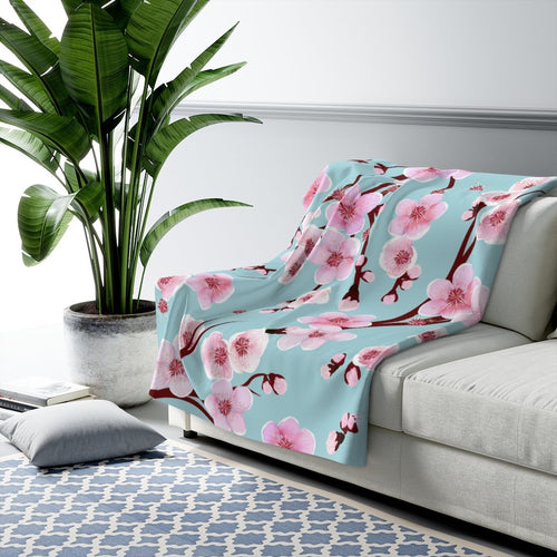 Japanese Cherry Blossom Sherpa Fleece Blanket - Southern Candle Studio