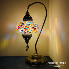 Load image into Gallery viewer, Rainbow Boho Handcrafted Large Swan Neck Mosaic Table Lamp