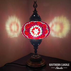 Large Red Volcano Star Handcrafted Mosaic Table Lamp