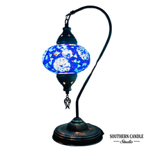 Load image into Gallery viewer, Zeta Boho Handcrafted Large Swan Neck Mosaic Table Lamp