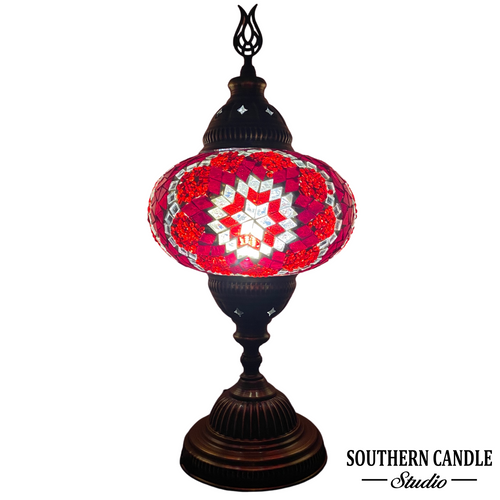Passionate Red Handcrafted Large Mosaic Table Lamp