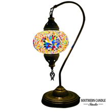 Load image into Gallery viewer, Aleka Boho Handcrafted Large Swan Neck Mosaic Table Lamp