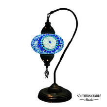 Load image into Gallery viewer, Asly Boho Handcrafted Large Swan Neck Mosaic Table Lamp