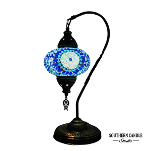 Asly Boho Handcrafted Large Swan Neck Mosaic Table Lamp