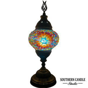Rainbow Star Boho Handcrafted Medium Mosaic Table Lamp