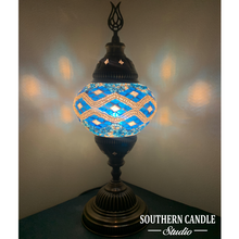 Load image into Gallery viewer, Ocean Waves Boho Handcrafted Medium Mosaic Table Lamp