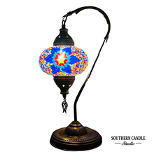 Load image into Gallery viewer, Alannis Boho Handcrafted Large Swan Neck Mosaic Table Lamp