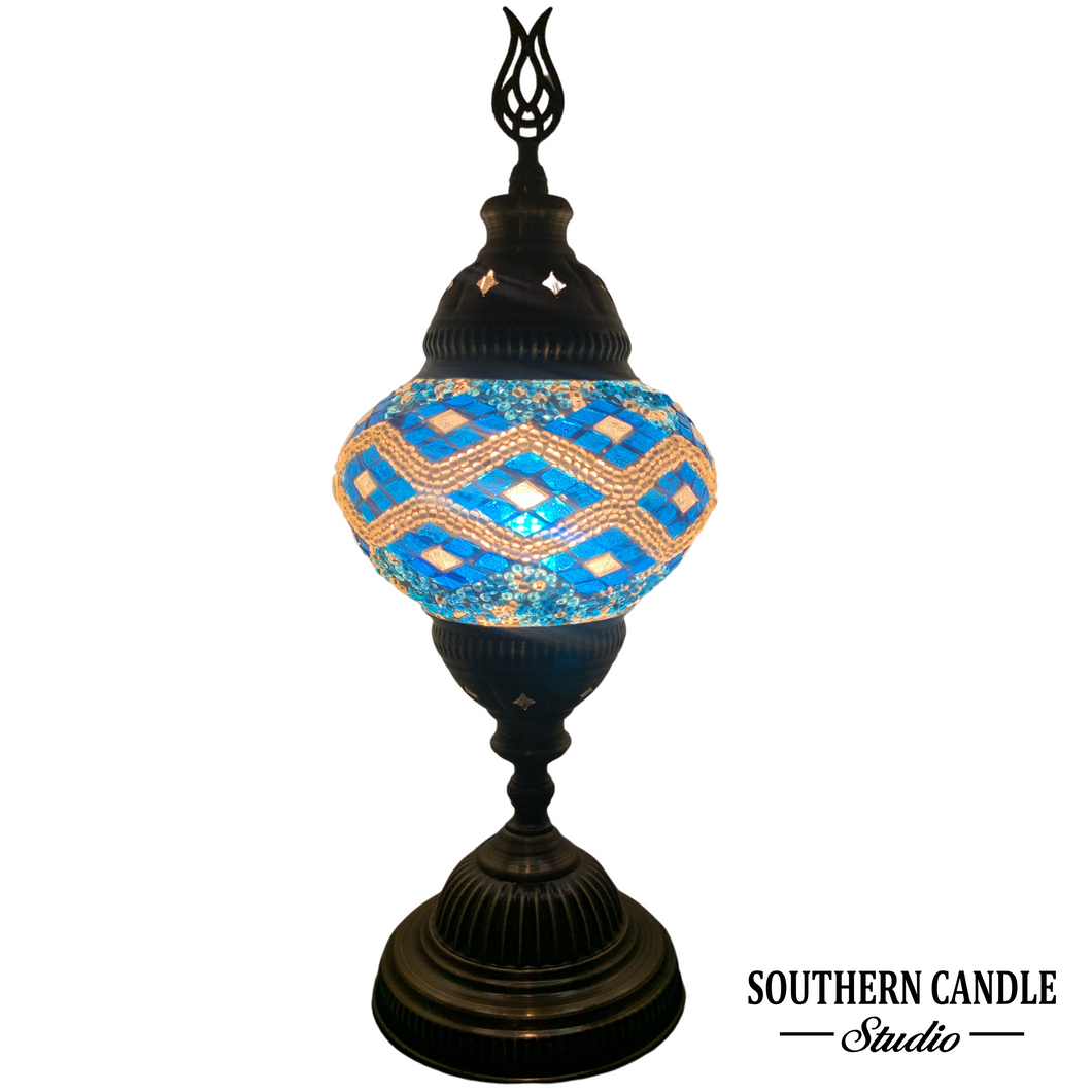 Ocean Waves Boho Handcrafted Medium Mosaic Table Lamp