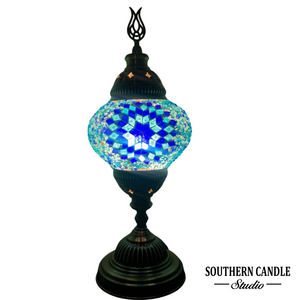Turquoise Sunset Boho Handcrafted Medium Mosaic Table Lamp