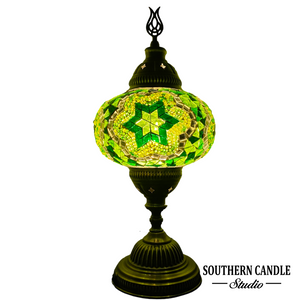 Green Stars of Istanbul Handcrafted Large Mosaic Table Lamp