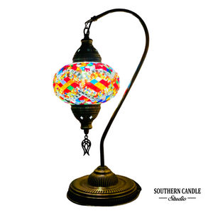 Topkapi Palace Boho Handcrafted Large Swan Neck Mosaic Table Lamp