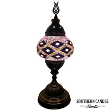 Load image into Gallery viewer, Calming Purple Waves Boho Handcrafted Medium Mosaic Table Lamp