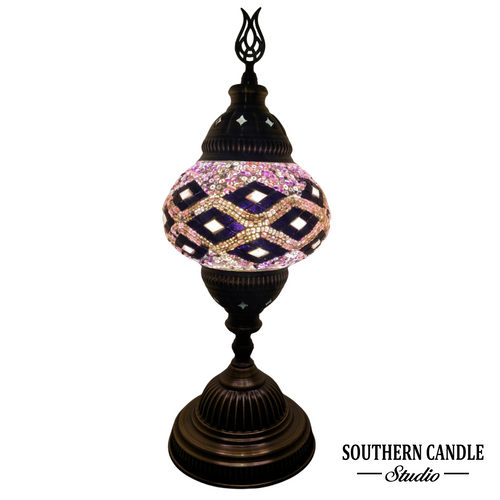 Calming Purple Waves Boho Handcrafted Medium Mosaic Table Lamp