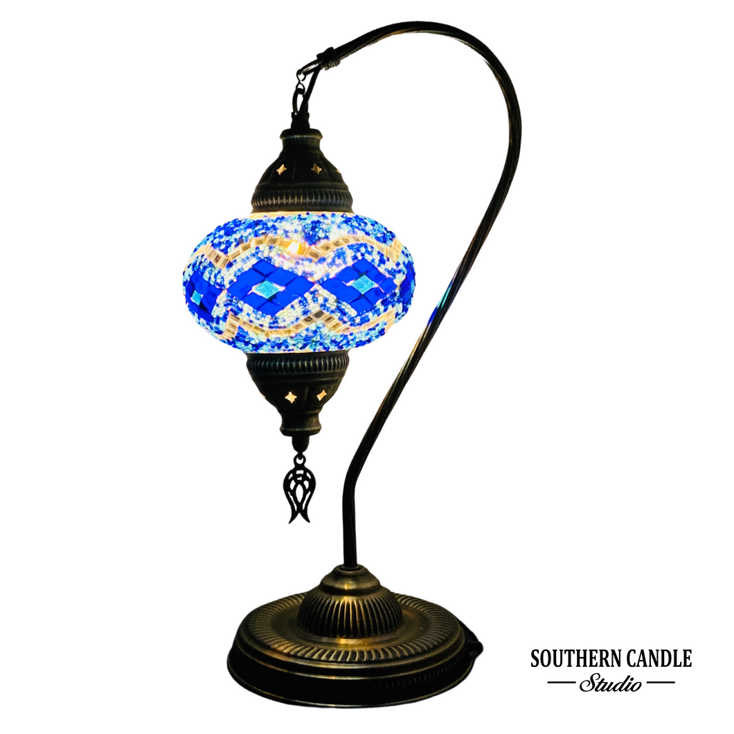 Taksim Boho Handcrafted Large Swan Neck Mosaic Table Lamp