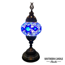 Load image into Gallery viewer, Ultramarine Stars Boho Handcrafted Medium Mosaic Table Lamp