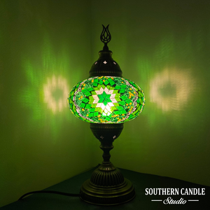 Large Green Boho Stars Handcrafted Mosaic Table Lamp