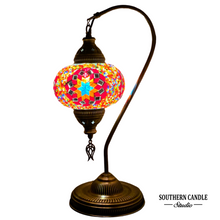 Load image into Gallery viewer, Spice Bazaar Boho Handcrafted Large Swan Neck Mosaic Table Lamp